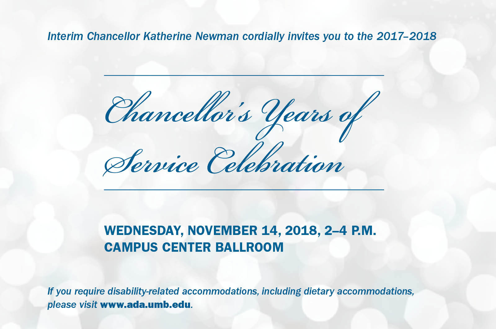 Graphic says Chancellor's Years of Service Celebration November 14, 2018 2-4 p.m.