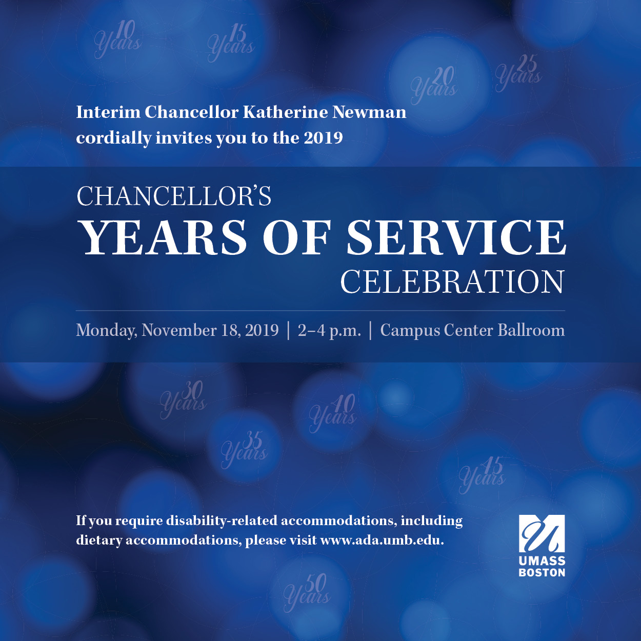 Chancellor's Years of Service November 18, 2019 at 2PM - 4PM