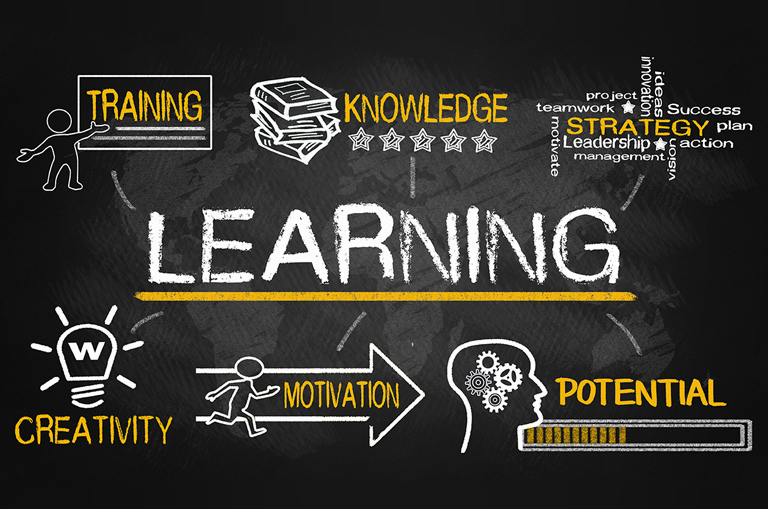 Graphic that says Learning surrounded by the words Training, Knowledge, Strategy, Creativity, Motivation, and Potential